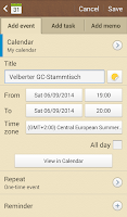 Screenshot of c:geo - calendar plugin