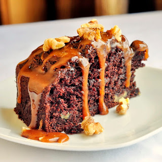 Chocolate Banana Caramel Walnut Coffee Cake
