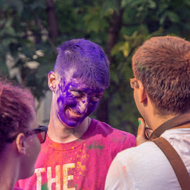 Blue Face by Tudor Migia - News & Events World Events ( organizar, bucharest, the colorrun, blue, posing )