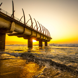 Umhlanga Pier by Nick Ferreira - Buildings & Architecture Bridges & Suspended Structures ( umhlanga, south africa, wave, sea, pier, sunrise, Urban, City, Lifestyle )