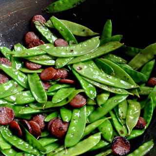 Stir Fried Snow Peas with Chinese Sausage