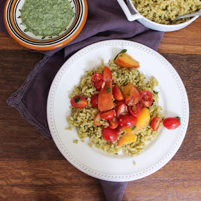 Classic Green Mint Chutney Rice Topped with Tomatoes and Nectarines from Spices and Seasons cookbook