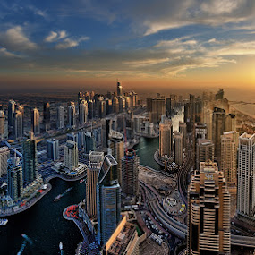 Golden Sunset by Andrew Madali - Buildings & Architecture Office Buildings & Hotels ( dubai, d800, sunset, uae, nikon, golden )