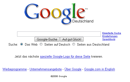 Deutschland  Nun macht Google Deutschland auf der deutschen Startseite