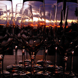 Champagne Glasses and Sunset by Fiorello Alegre - Artistic Objects Glass