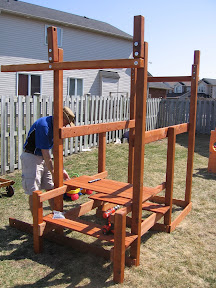 Dave working on the play structure