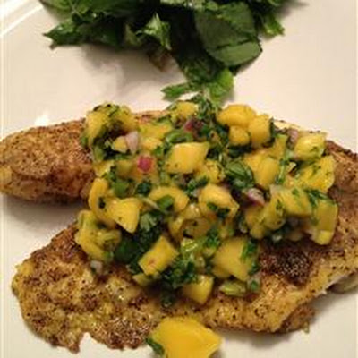 Curried Tilapia with Mango Salsa
