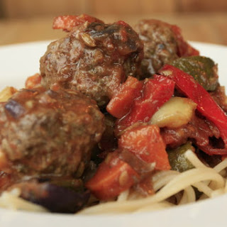 Roasted Vegetable Ragu with Venison Meatballs