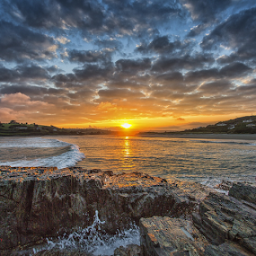Sunset Wave by Adrian O'Neill - Landscapes Sunsets & Sunrises ( water, sky, sea, rocks, sun,  )