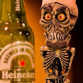 Silence I Drink You by Linda Tiepelman - Artistic Objects Toys ( achmed the dead terrorist, achmed, beer, pale lager beer, heineken, alcohol, green, drink, booze, jeff dunham puppet, liquor )