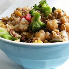Easy Balsamic Chickpea, Brown Rice & Broccoli Salad