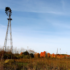 Windmill Place by Leo Padilla - Landscapes Prairies, Meadows & Fields ( fall, color, colorful, nature )