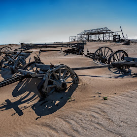 Relics of the Past by Johan Jooste Snr - Transportation Other ( namib desert, desert, wood, transport, wheels, ox-wagons, namibia )