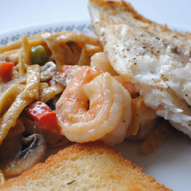 Tasty Catch by Rhonda Yentzer-Rose - Food & Drink Plated Food ( plated, cod, noodles, bread, shrimp, food, vegetables )