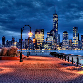 Freedom Tower by Gary Aidekman - City,  Street & Park  Skylines ( manhattan skyline, manhattan, wall street, freedom tower, hudson river )