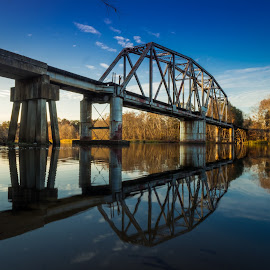 Reflected Swing Bridge by John Smith - Buildings & Architecture Bridges & Suspended Structures ( the south, water, reflection, railway, trail, rr, georiga, bridge, river, swing bridge )