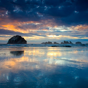 Oregon beach reflection by Gale Perry - Landscapes Waterscapes ( , Earth, Light, Landscapes, Views, serenity, blue, mood, factory, charity, autism, light, awareness, lighting, bulbs, LIUB, april 2nd, #GARYFONGDRAMATICLIGHT, #WTFBOBDAVIS )