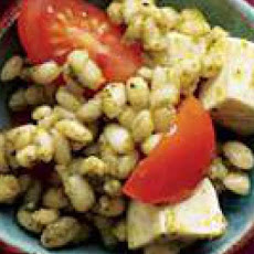 Pesto Barley with Mozzarella and Cherry Tomatoes
