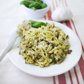 Grilled Chicken with Linguine and Pesto