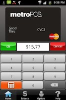 Screenshot of MetroPCS Virtual MasterCard
