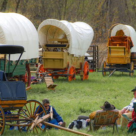 Wagon Train at Rest by Gary Hanson - City,  Street & Park  City Parks ( minnesota, rest stop, journey, hastings, wagons, wagon train, horse drawn, st. paul )