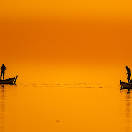 Fishermen's boats by Murat Besbudak - Landscapes Waterscapes ( sunset, gold sunset, boats, izmie, bostanlı, karşıyaka )