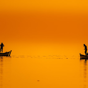 Fishermen's boats by Murat Besbudak - Landscapes Waterscapes ( sunset, gold sunset, boats, izmie, bostanlı, karşıyaka,  )