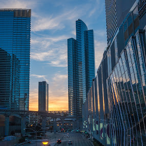 Vegas Blue by Eric Yiskis - Buildings & Architecture Office Buildings & Hotels ( las vegas, sunset, city center, rx100, aria,  )