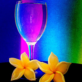 Glass and flower by Janette Ho - Artistic Objects Glass ( purple, yellow, color )