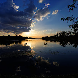 Lake by Vesna Holjevac - Landscapes Waterscapes ( clouds, waterscape, sunset, cloud, lake, landscape, city,  )