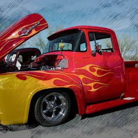 Antique Truck with Flames by Michael Moriarty - Digital Art Things ( classic car, truck, f-100, transportation, ford, antique )