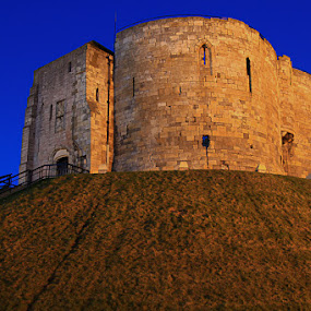 Clifton Tower by Ron Jnr - Buildings & Architecture Public & Historical ( north yorkshire, grass bank, building, tower, ancient tower, dark sky, hand rail, york, steps, lookout tower )