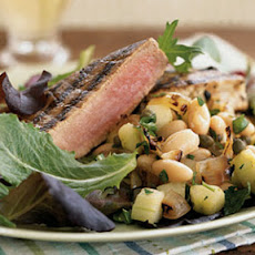 Grilled Tuna with White Bean and Charred Onion Salad