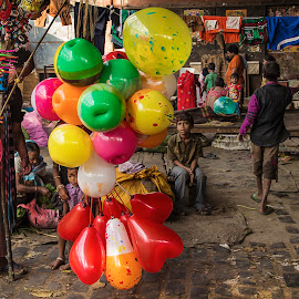 The Contrast Of Life  (Desire Vs  Achievement)   by Roopam Ahmed - City,  Street & Park  Street Scenes ( contrast, life, color, street scene, balloon, street photography )