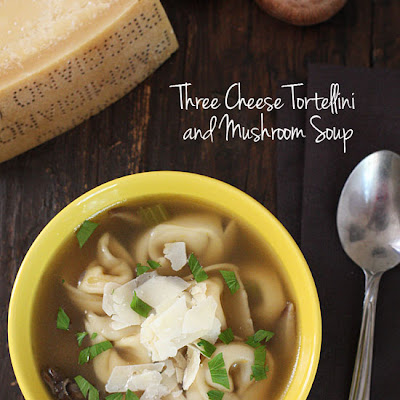 Three Cheese Mushroom and Tortellini Soup