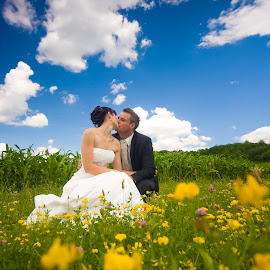 Dream wedding I by Gregor Grega - Wedding Bride & Groom ( love, clouds, blue sky, wedding, meadow, couple, bride, flowers, groom )