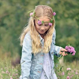 Posy by Melanie Pista - Babies & Children Child Portraits ( field, peaceful, purple, blue, clover )