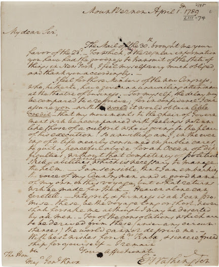 "<b>""An Ocean of Difficulties""</b>  In a letter written on April 1, 1789, to his friend General Henry Knox, Washington confides his misgivings about accepting the office: ""My movements to the chair of Government will be accompanied with feelings not unlike those of a culprit who is going to the place of his execution: so unwilling am I, in the evening of a life nearly consumed in public cares to quit a peaceful abode for an Ocean of difficulties.""  View the full letter at the <a href=""https://www.gilderlehrman.org/history-by-era/creating-new-government/resources/george-washington%E2%80%99s-reluctance-become-president-178"">Gilder Lehrman website</a>."