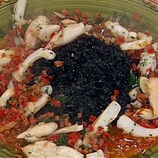 Grilled Squid and Cuttlefish over Squid Ink Rice