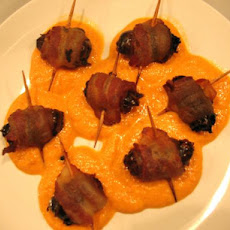 Tapas: Bacon Wrapped Dates and Sweet Red Bell Pepper Sauce