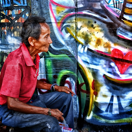 Graphix Colors by Ferdinand Ludo - People Portraits of Men ( grandpa, waiting, background, cool graphic arts )