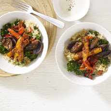 Roasted Harissa Vegetables With Kale & Ginger Pilaf