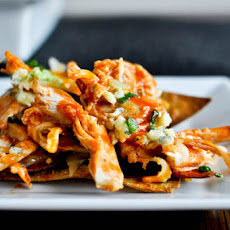 Baked Layered Buffalo Chicken Nachos