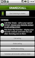 Screenshot of Shake2call