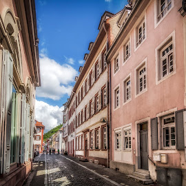 Street in Heidelberg by Ole Steffensen - City,  Street & Park  Neighborhoods ( houses, heidelberg, street, germany, cobblestone, street photography )