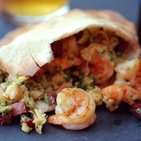 Chickpea, Shrimp, and Chorizo Pita Sandwiches