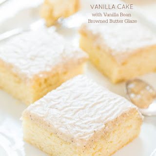 Vanilla Cake with Vanilla Bean Browned Butter Glaze