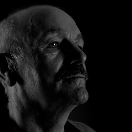 Reflective  by Graham Briggs - People Portraits of Men ( portrait mature man black and white studio shoot,  )