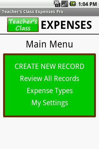 Teacher's Class EXPENSES PRO
