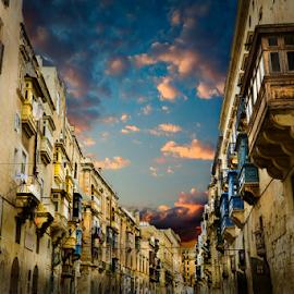 Valletta Streets by Don Alexander Lumsden - City,  Street & Park  Street Scenes